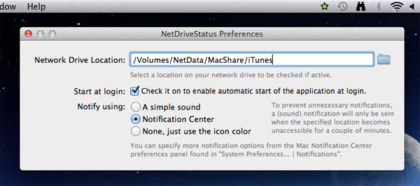 NetDriveStatus Preferences Panel